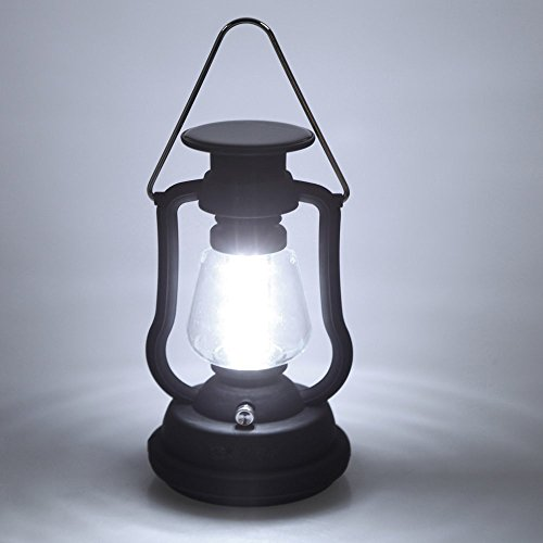 Security High Brightness Portable Outdoor Dynamo LED Solar and Hand Crank Light Lantern Lamp for Hiking Camping with 16 LEDs (Black)