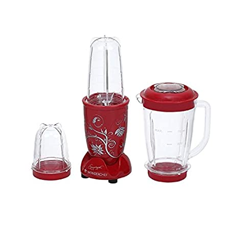 Wonderchef Nutri-Blend 400-Watt Juicer Mixer Grinder With Big Mixer Jar (Red) Mixer Grinders at amazon