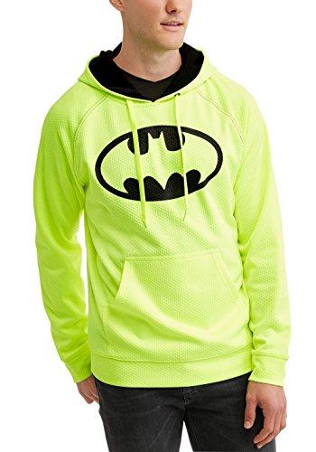 Batman DC Comics Men's Embossed Acid Yellow Hoodie Hooded Sweatshirt (Medium (38/40))
