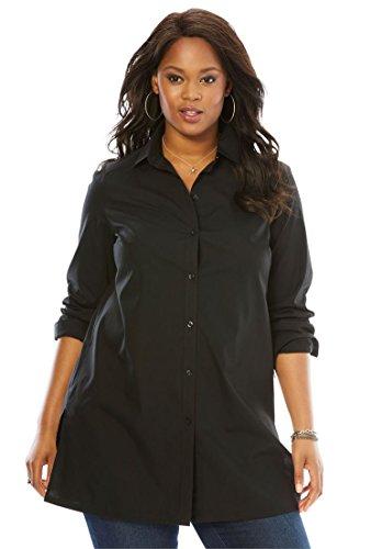 Roamans Women's Plus Size Kate Tunic Black,22 W