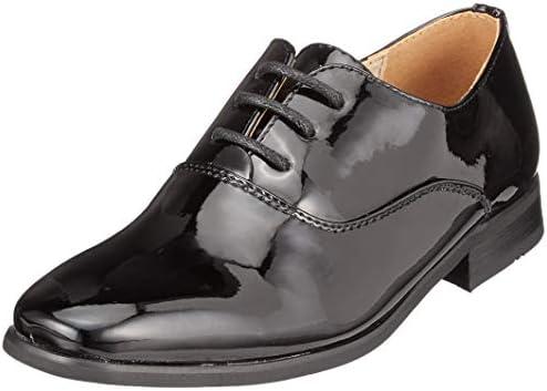Goor Boys 4 Eyelet Lace Up Comfortable Stylish Formal Patent Dress Shoes Black
