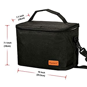 Insulated Lunch Bag Soft Cooler Tote Meal Prep Container Box Bags Adjustable Shoulder Strap Zipper for Work Picnic Camping Black