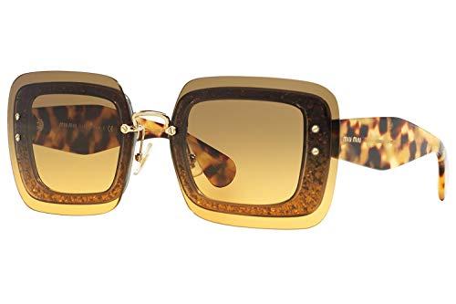 Miu Miu MU01RS Sunglasses Transparent Brown Glitter w/Orange Green Gradient Lens PC80A3 MU 01RS For Women