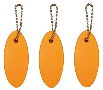 3 Pack ORANGE Floating Keychain key floats *Polyurethane Foam* 6 stainless ball chain
