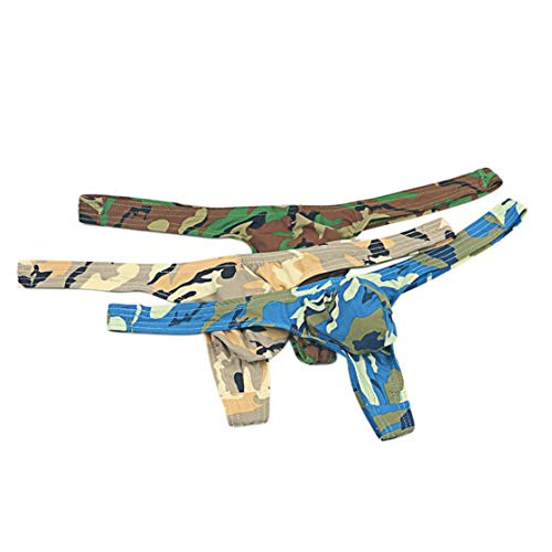 (MuscleMate 2018 New, Men's Camouflage Thong Underwear, Hot Men's Camouflage Thong G-String Undie, No Visible Lines. (L, A Set of 3 Colors))