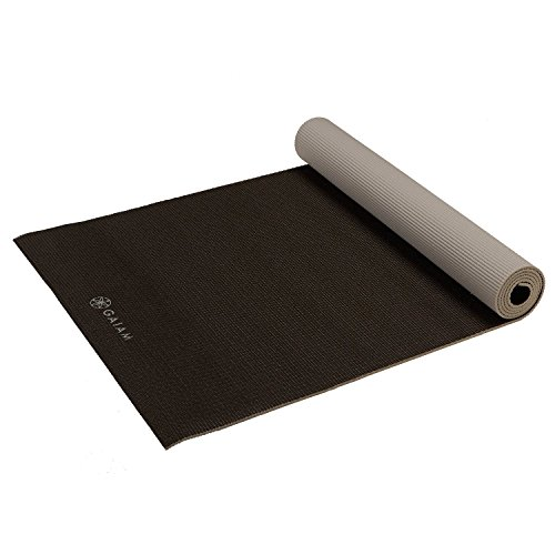 Gaiam Yoga Mat Premium Solid Color Reversible Non Slip Exercise & Fitness Mat for All Types of Yoga, Pilates & Floor Workouts, Granite Storm, 6mm (Gaiam Sol Dry Grip Yoga Mat Black 5mm)