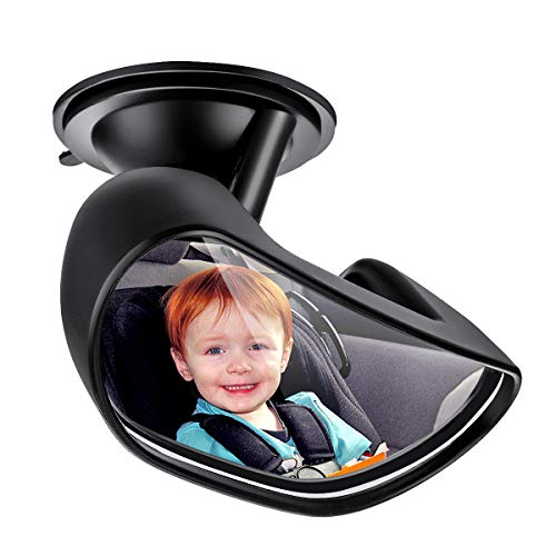 Upgrade Baby Car Backseat Mirror ELUTO Rear View Facing Back Seat Mirror 360 Degree Adjustable Strengthen Suction Cup Rearview Wide Angle Convex Mirror for Infant Toddler Child(5.9