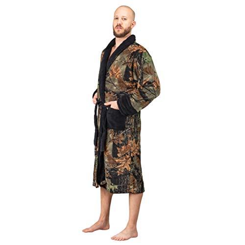 TrailCrest Coral Fleece Camo Lounge Robe (Small, Black) (Camo Mens Bathrobes)