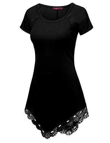 doublju-womens-short-sleeve-round-neck-lace-heming-asymmetrical-tunic-shirts-black-small