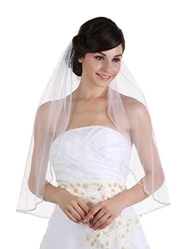 (1T 1 Tier Crystals Pearls Beaded Wedding Veil (Elbow Length 30