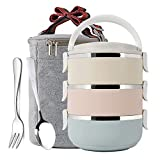 Mr.Dakai 3 Tier Stainless Steel Thermal Lunch Bento Box With Tableware Set, Stackable Insulated Bento Box Food Container With Lunch Bag for Kids, Adults, Women, Men (Round)