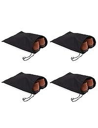 Demana 4X Bolsa de almacenamiento de zapatos no tejida cordón de viaje empaquetado zapatos bolsa de polvo transpirable portátil Negro 28.5 * 36cm
