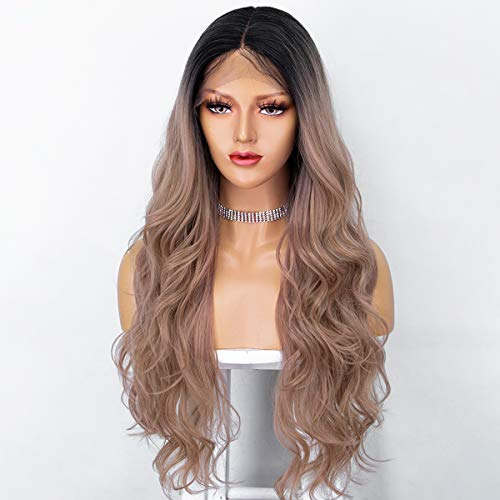 Persephone Pink Lace Front Wig with Dark Roots Long Wavy Rose Gold Ombre Wig Rose Blonde Synthetic Wigs for Women Heat Resistant 22 Inches (Gold Ombre)
