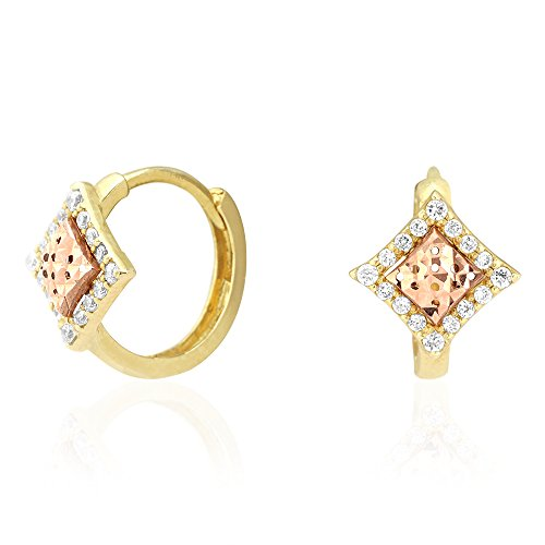 14k Yellow & Rose Gold Diamond Cut Cubic Zirconia Halo Square Huggie Hoop Earrings