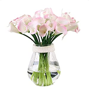 Packozy 20 Pcs Artificial Flower Calla Lily Bridal Wedding Bouquet Lataex Bouquets 14.17″ for Home Party Decor(Pink)