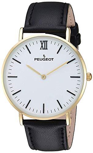 Peugeot Men's 14K Gold Plated Analog-Quartz Watch with Leather-Calfskin Strap, Black, 20 (Model: 2050WT)