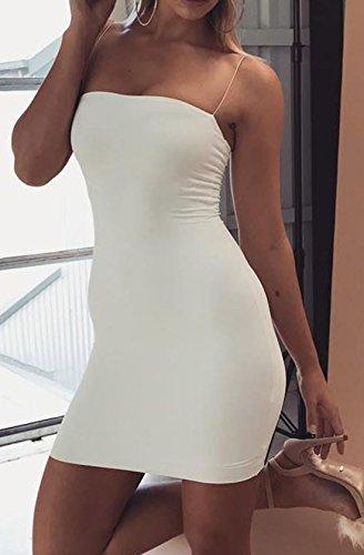 Monika Verano Vestido de Tirantes Mujer Sexy Backless Mini Vestido Moda Bodycon Corto Vestidos de Cóctel Partido Fiesta Club