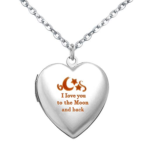 Power Wing I Love You to The Moon and Back Heart Locket Necklace That Holds Pictures Photo Lockets for Kids Girls