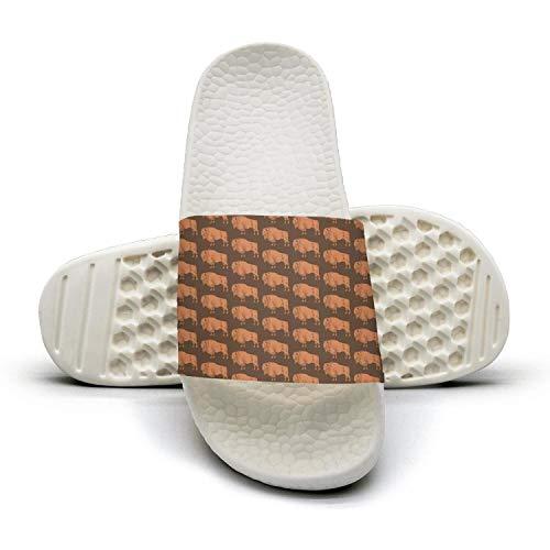 Guxefi Orange Buffalo Womens Outdoor Indoor Slides Comfort Flip Flop Fashionable Sandals