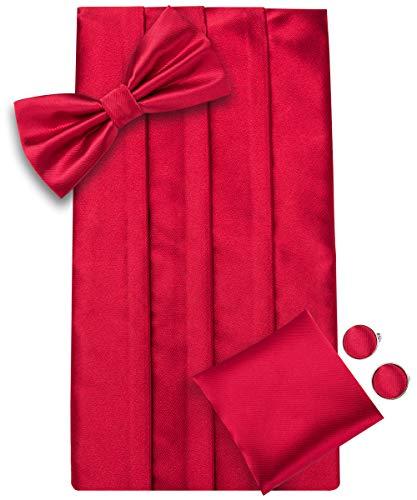 Dubulle Solid Red Men Pre tied Bow Tie Cummerbund Silk Pocket Square Handkerchief Set