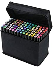 Scienish 80 Colors Art Sketch Drawing Twin Marker Paiting Pen Set Black