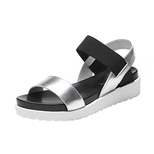 Sandalias para Mujer, FAMILIZO Sandalias de mujer de moda Sandalias de cuero de verano de mujer zapatos de damas Plata