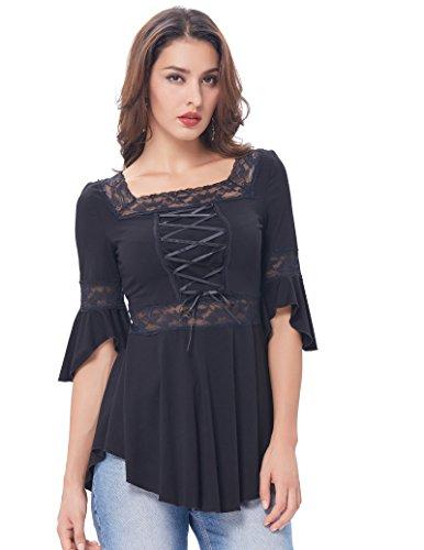Belle Poque Plus Size Women Gothic Top Stretchy Square Neck Cotton Top ,Black,X-Large