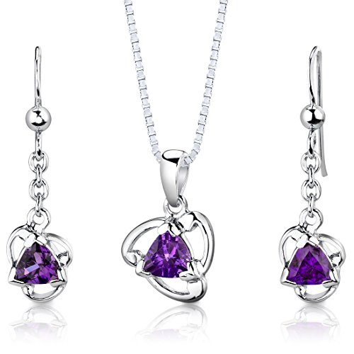 Amethyst Pendant Earrings Set (Amethyst Pendant Earrings Necklace Set Sterling Silver Trillion Cut 1.50 Carats)