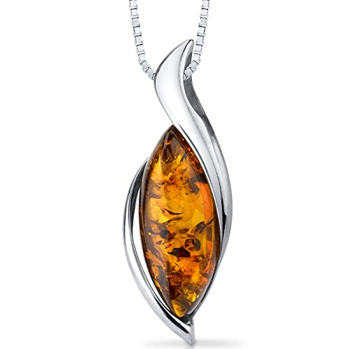 Baltic Amber Pendant Necklace Sterling Silver Cognac Color Bezel Set ()