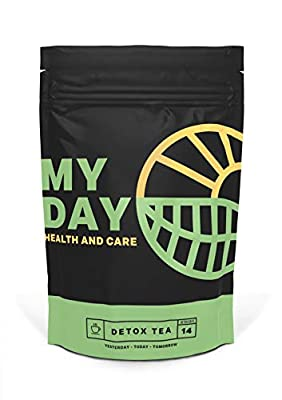 My Day 14 Day Detox and Cleanse Tea - Blended Natural Herbal Teas, Goji Berries, Rose, Rooibos, Lotus Leaf | for Healthy Gut, Energy Booster, Weight Loss & Enhanced Immune System | 14-Servings