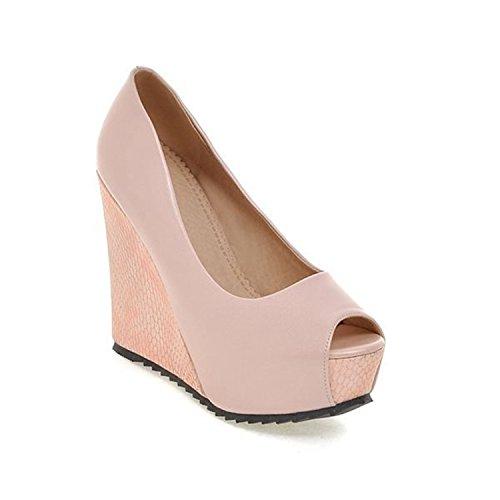 Solid PU Causal Size 33 White Heels 41 vovmi Shoes Pink Pink High Women Women Big wRv4Pfq