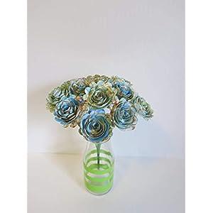 "Scalloped World Atlas Roses, 1.5"" Paper Flowers on Stems, One Dozen, Travel Theme Birthday Party Decor, Wedding Decor, Bridal Shower Centerpiece, Map Flowers 4"