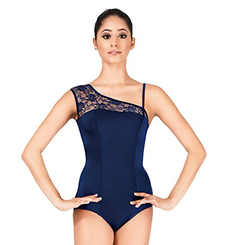 Adult Asymmetrical Lace Leotard,P220NAYS,Navy,Small (Body Wrappers Leotard)