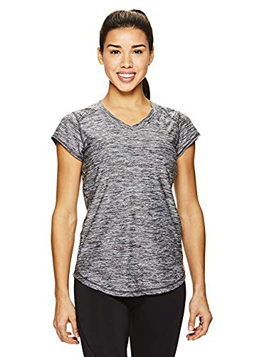 HEAD Women's Perfect Match Short Sleeve Workout T-Shirt - Performance V-Neck Activewear Top - Black Heather Perfect Match, -