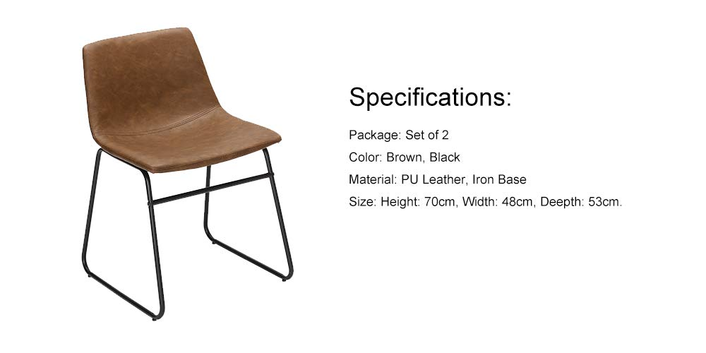Brown PU Faux Leather Seat /& Black Metal Base Chair for Dining Room Living Room Furnirfun Set of 2 Vintage Modern Design Dining Chair Restaurant and Bedroom DR-02-02