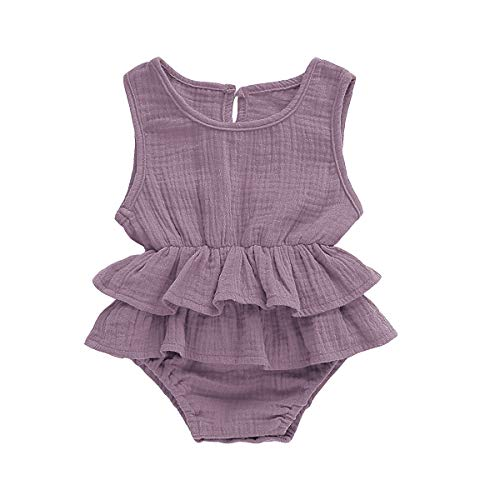 Muasaaluxi Newborn Infant Baby Girls Sleeveless Romper Cotton Ruffled Bodysuit Jumpsuit Jumpsuit Sunsuit Summer Outfit 0-24M (12-18M, Light Purple) ()
