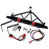 DJX Steel Rear Bumper w/Shackles LED Light with Spare Tire Mount for 1/10 RC Crawler Axial SCX10