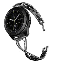 V-MORO Jewelry Bracelet Compatible with Galaxy Watch 42mm Bands/Active 40mm Band Black 20mm Bling Metal Bangle Raplcement for Samsung Galaxy Watch 42mm/Galaxy Watch Active 40mm Women Girl