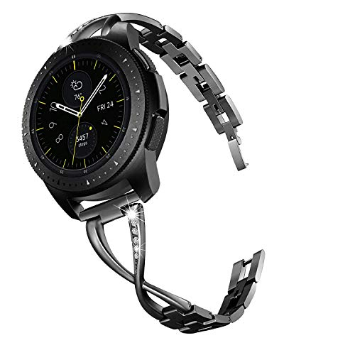 V-MORO Jewelry Bracelet Compatible with Galaxy Watch 42mm Bands/Active 40mm Band Black 20mm Bling Metal Bangle Raplcement for Samsung Galaxy Watch 42mm/Galaxy Watch Active 40mm Women Girl (Pebble Smartwatch Best Price)