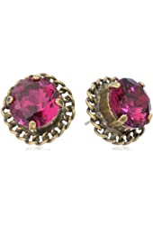 """Sorrelli """"Pink Orchid"""" Woven Detail Crystal Gold-Tone Stud Earrings"""
