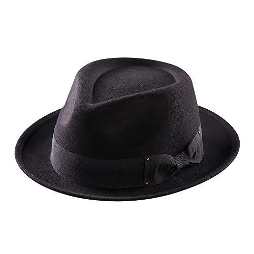 Short Brim Fedora - Wool Fedora Hat,Men Trilby Hats Classic Manhattan Short Brim Felt Flat Cap(Black)
