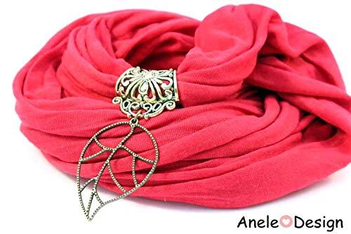 É charpe foulard bijou rouge - Feuille Bohè me