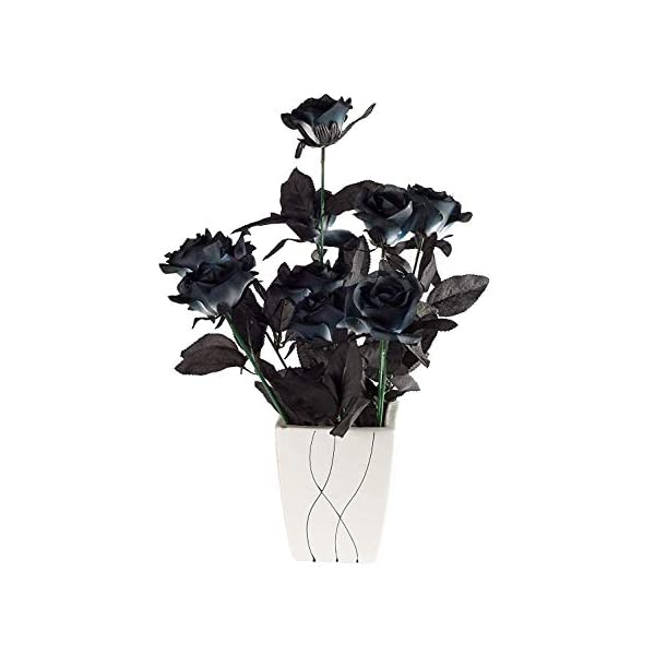 Yebazy 10Pcs Black Artificial Flowers Roses Bouquets 16.5 Inch Real Looking Black Fake Rose Halloween Wedding Party Home Garden Décor