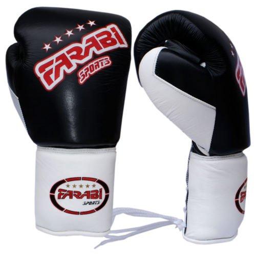 ボクシンググローブスパーリンググローブ、パンチバッグトレーニンググローブ耐熱手袋本革パッド ブラック/ホワイト 10Oz