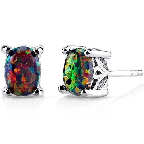 Created Black Opal Oval Stud Earrings Sterling Silver 1.00 Carats