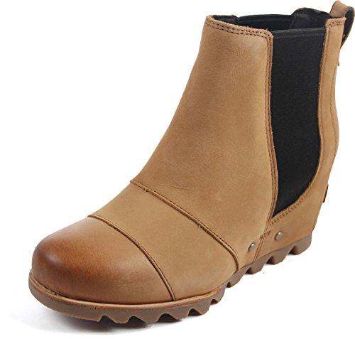 Wedge Sole Pull - SOREL Womens Lea Wedge Boot, Camel Brown, 9 B(M) US