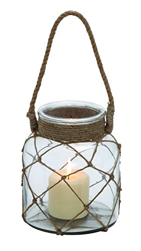 (Benzara Jute Rope Netted Glass Jar Candle Lantern with a Sturdy Rope Handle)