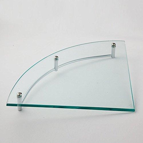 Little World Bathroom Glass Shower Shelf,Triangle Wall Shower Shelf Corner Shower-Stainless Steel glass wall mount corner shelf with Rail, Polished Chrome