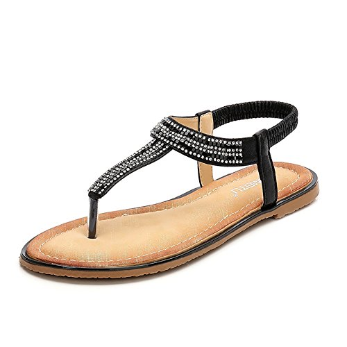 (Meeshine Women Bohemia Flat Sandals Summer Beach Glitter Beads Elastic T-Strap Flip-Flop Thong Shoes(6 B(M) US,Black 05) )