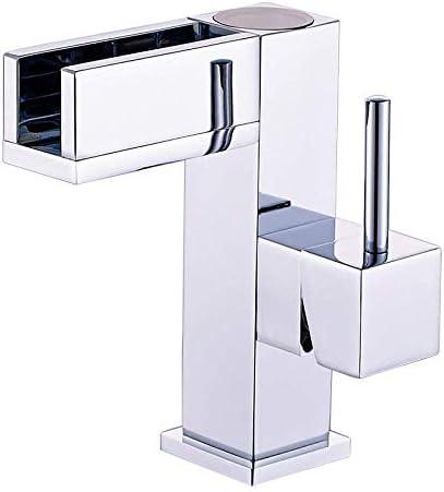 Yadianna バスルームのシンクは、スロット付き浴室の洗面台のシンクホットコールドタップミキサー流域の真鍮のシンクのすべての銅LED浴室の洗面台の温度制御の蛇口浴室洗面盆地ホットとコールド蛇口タップ